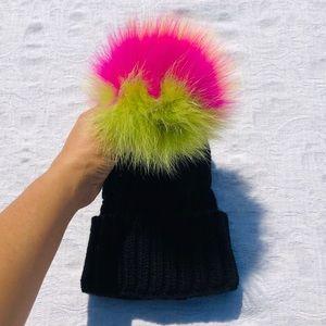 CHLOE K.**Black Knit Hat w/ Rainbow Fur Pom Pom